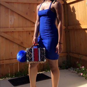 H&M blue spaghetti dress